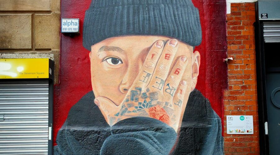 Portrait of Ste Wing by the artist Akse, done to celebrate their Vietnamese roots and for the 50 Windows of Creativity project.