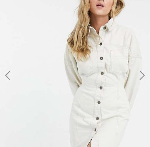 COLLUSION denim corset dress in ecru from Asos
