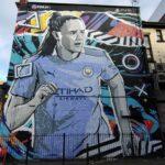 Manchester city mural, Playstation fifa 2021 advert