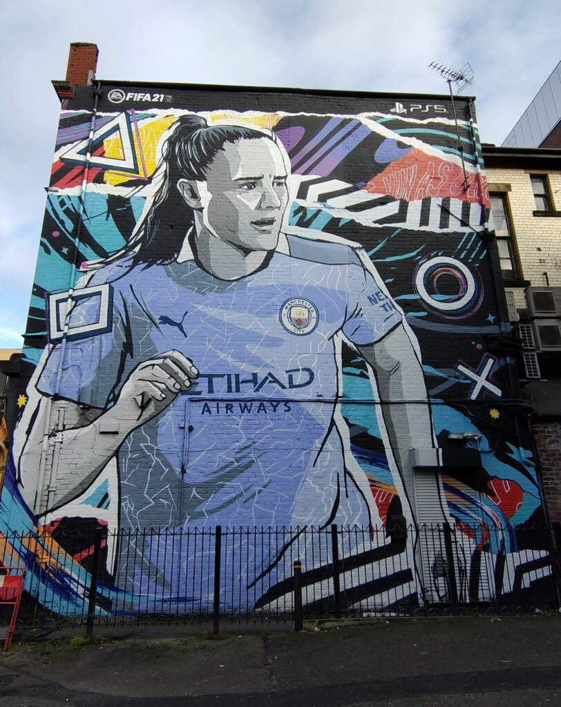 Manchester city mural, Playstation fifa 2021 advert