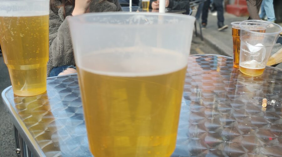 Abusive Behaviour, picture of 2 pint glass of lager