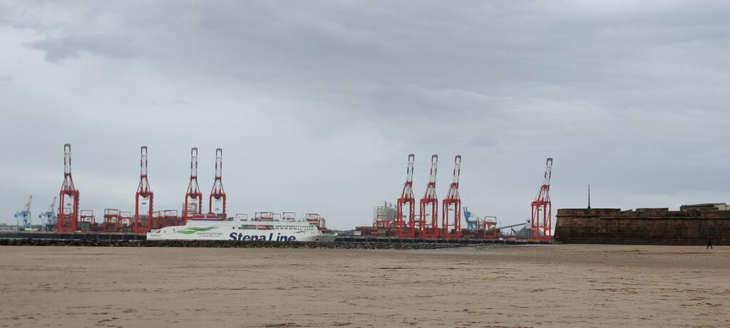 Cranes at Crosby and Sealink ferry from Belfast